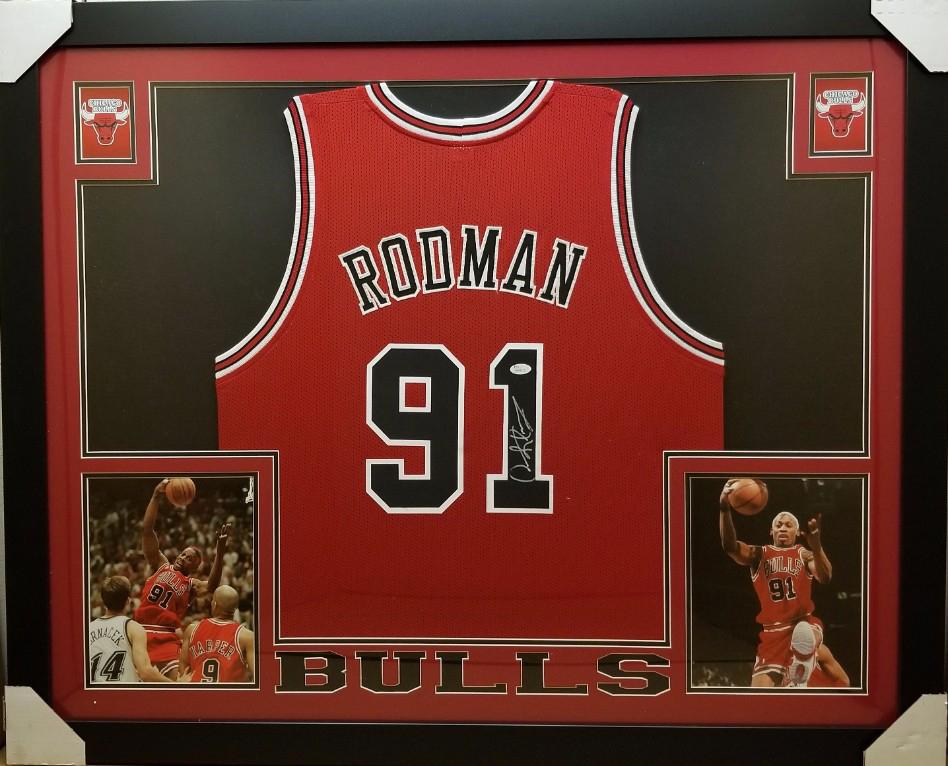 f003991acc0 ... sweden dennis rodman signed chicago bulls custom jersey framed display  jsa witness coa efa10 236f3