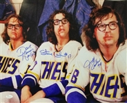Dave Hanson, Jeff Carlson & Steve Carlson Signed Slap Shot 16x20 Photo (JSA Witness COA)