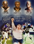 Bill Parcells, Lawrence Taylor & Harry Carson Signed & HOF Inscribed 16x20 Photo (JSA Witness COA)