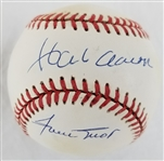 Hank Aaron & Willie Mays Dual Signed ONL William White Baseball (JSA LOA)