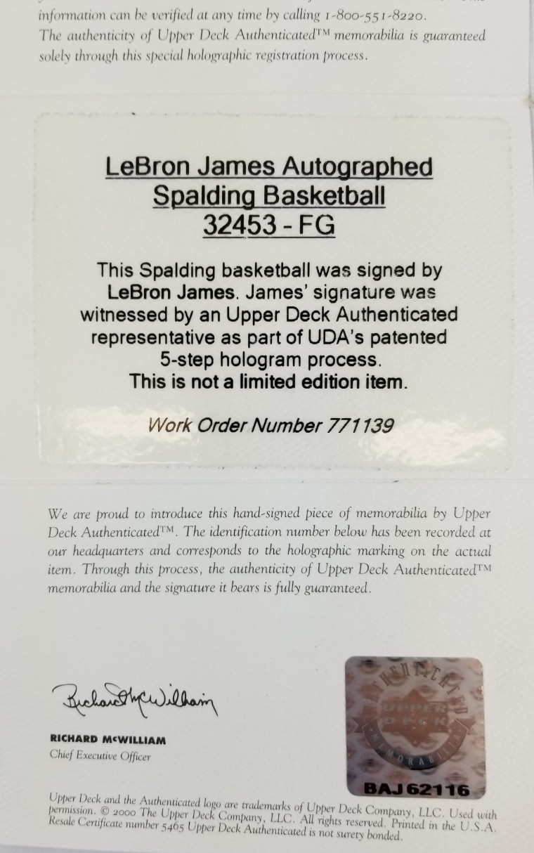 Lot detail lebron james signed official nba game basketball uda coa 1betcityfo Image collections