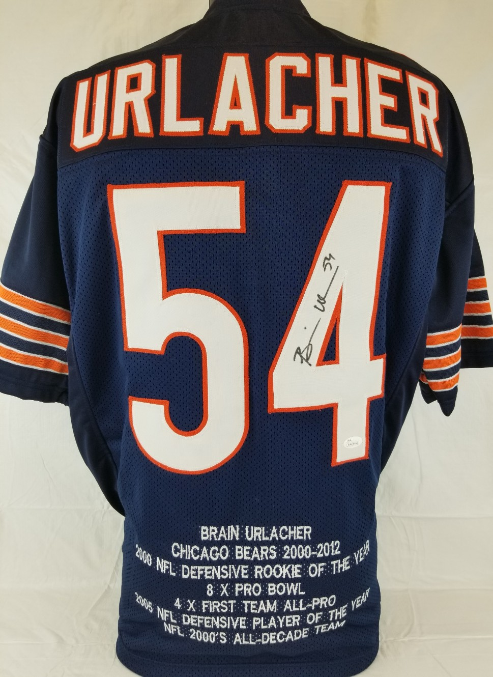 ca27f8a3814 Brian Urlacher Signed Chicago Bears Custom Jersey w/ Embroidered Career  Stats (JSA Witness COA