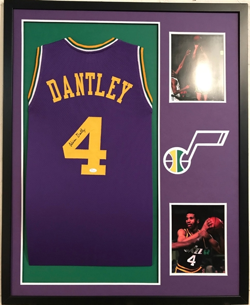 Adrian Dantley Signed Utah Jazz Custom Jersey Framed Display (JSA Witness  COA) c5edae116