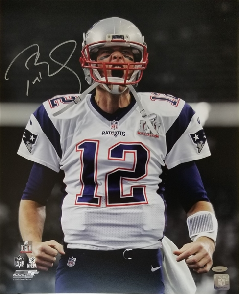 Tom Brady Signed Patriots Super Bowl LI 16x20 Scream Photo (Tristar COA)