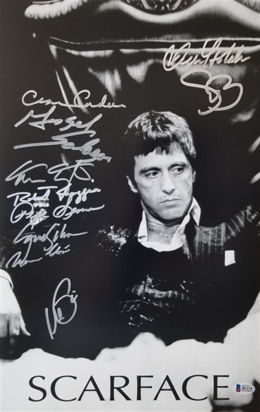 Scarface Cast Signed 11x17 Photo w/ 10 Signatures Including Al Pacino (Beckett LOA)