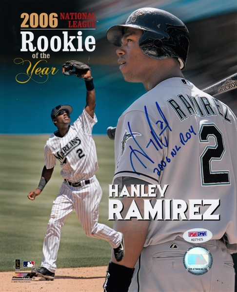 Hanley Ramirez NL 2006 Rookie Of The Year Signed Inscribed Baseball PSA DNA