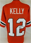 Jim Kelly Signed Miami Hurricanes Custom Jersey (JSA Witness COA)