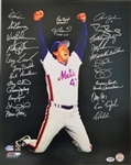 1986 NY Mets Team Signed 16x20 Photo w/ 26 Signatures inc. Gary Carter (PSA LOA)