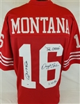 "Joe Montana & Dwight Clark ""The Catch 1.10.82"" Signed 49ers Custom Jersey (PSA/DNA COA)"