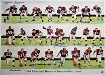 1964 Cleveland Browns Team Signed 24x34 Litho w/ 9 Signatures Including Jim Brown (JSA COA)