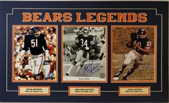 Walter Payton, Dick Butkus & Gale Sayers Signed 18x30 Matted 8x10 Photo Display (JSA COAs)