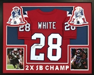 James White Signed New England Patriots Custom Jersey Framed Display (PSA/DNA COA)