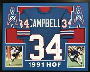 "Earl Campbell ""HOF 91"" Signed Houston Oilers Custom Jersey Framed Display (JSA COA)"