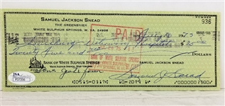"Sam Snead Signed Full Name ""Samuel J. Snead"" 1975 Bank Check (JSA COA)"