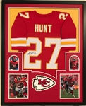 Kareem Hunt Signed Kansas City Chiefs Custom Jersey Framed Display (JSA Witness COA)