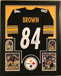 Antonio Brown Signed Pittsburgh Steelers Custom Jersey Framed Display (JSA Witness COA)
