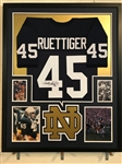 Rudy Ruettiger Signed Notre Dame Custom Jersey Framed Display (JSA Witness COA)