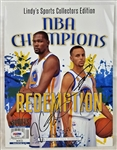Kevin Durant & Steph Curry Signed Warriors NBA Champions Magazine (PSA/DNA LOA)
