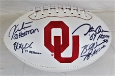 Oklahoma Heisman Winners (Mayfield, White, Sims & Owens) Signed Logo Football (JSA Witness COA)