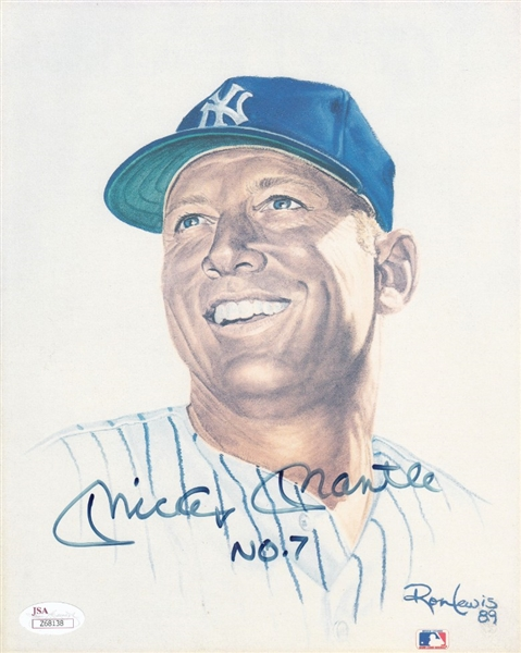 "Mickey Mantle ""No. 7"" Signed 8x10 Ron Lewis Photo (JSA LOA)"