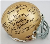 Notre Dame Football Legends Signed Mini Helmet w/ 9 Signatures (JSA LOA)