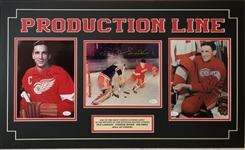 Red Wings Production Line (Howe, Lindsay & Abel) Signed 18x30 Matted Photo Diplay (JSA COAs)