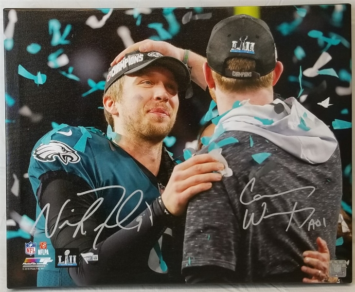Carson Wentz & Nick Foles Signed Eagles Super Bowl LII 17x20 Stretched Canvas (Fanatics Certified)
