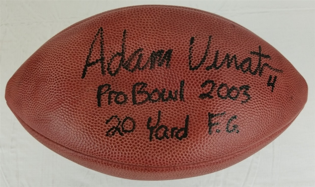 "Adam Vinatieri ""Pro Bowl 2003 20 Yard FG"" Signed Game Used ""K"" Football (JSA COA & Vinatieri Letter)"