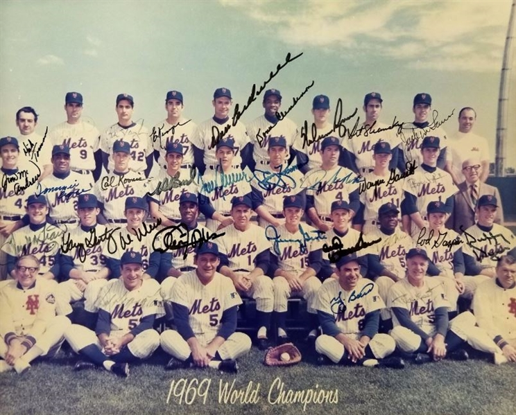 1969 Mets Team Signed 11x14 Photo w/ 30 Signatures including Ryan, Seaver & Berra (JSA LOA)