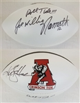 "Ken Stabler & Joe Willie Namath ""Roll Tide!!!"" Signed Alabama Logo Football (JSA LOA)"