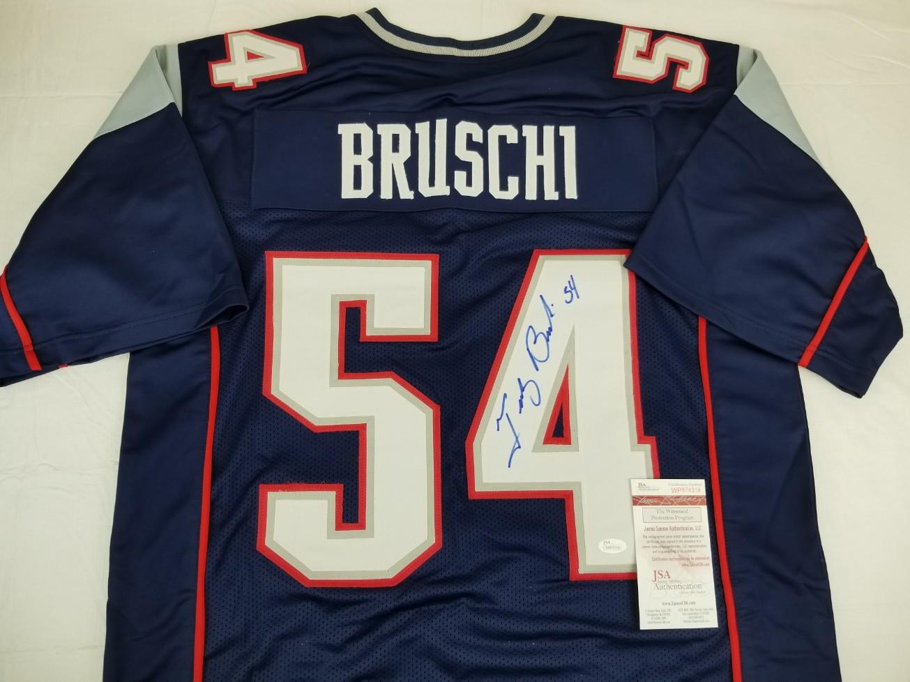 Tedy Bruschi Signed New England Patriots Custom Jersey (JSA Witness COA).  Prev Next f260351ec