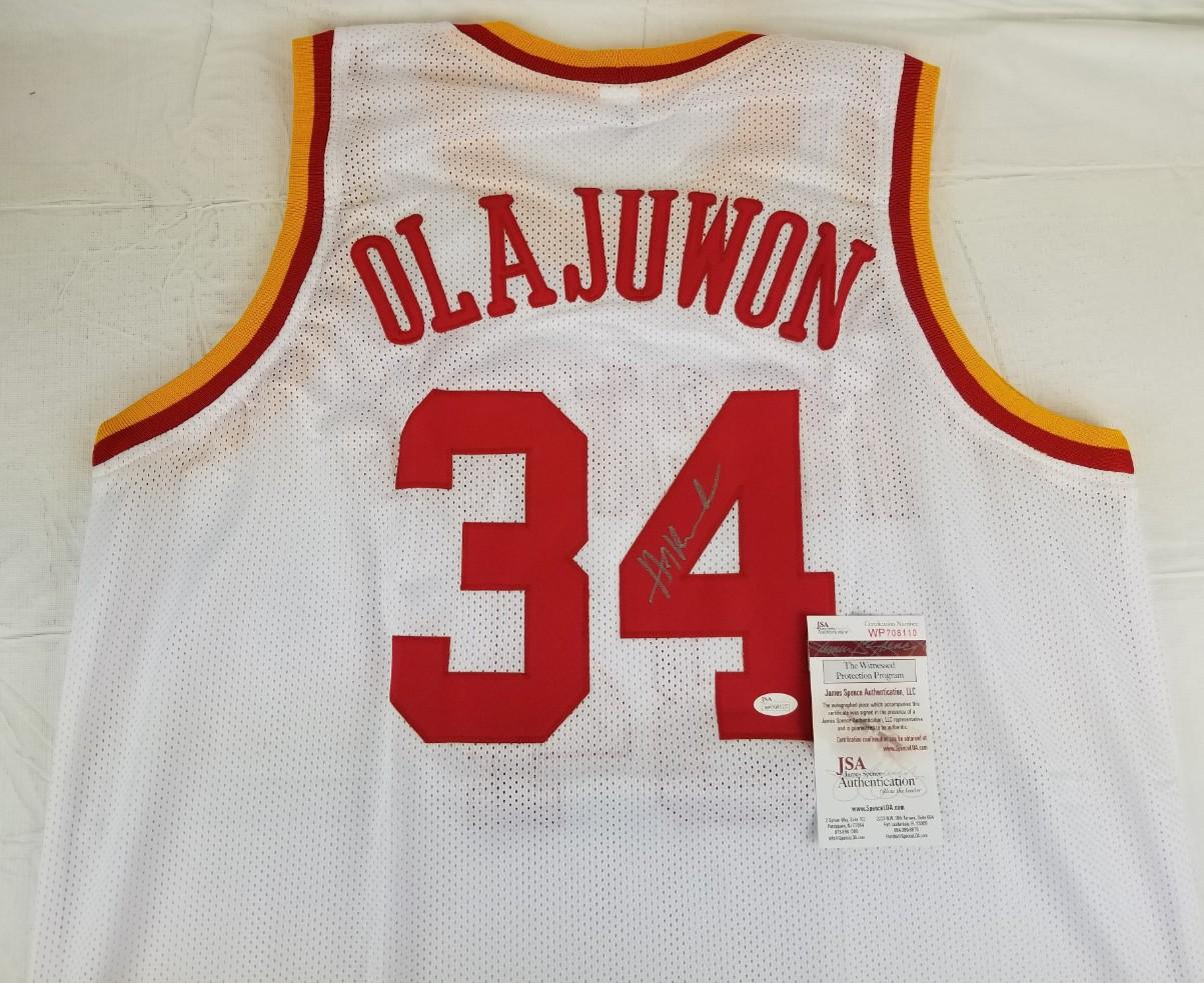 ae51095b2 Hakeem Olajuwon Signed Houston Rockets Custom White Jersey (JSA Witness COA).  Hover to zoom. Prev Next