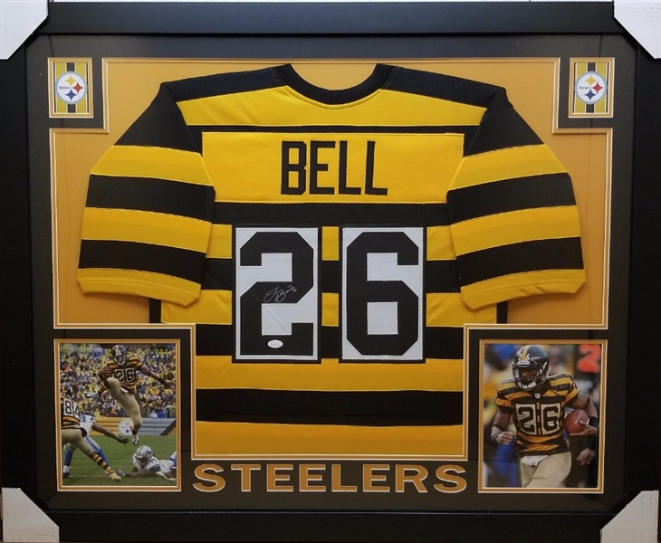 LeVeon Bell Signed Pittsburgh Steelers Custom Jersey Framed Display (JSA Witness COA)
