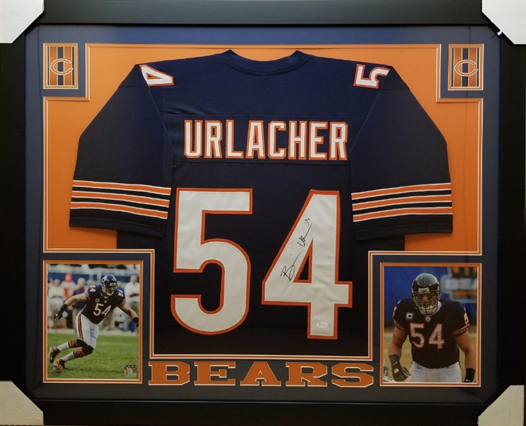 Brian Urlacher Signed Chicago Bears Custom Jersey Framed Display (JSA Witness COA)