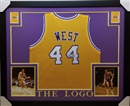 Jerry West Signed Los Angeles Lakers Custom Jersey Framed Display (JSA Witness COA)