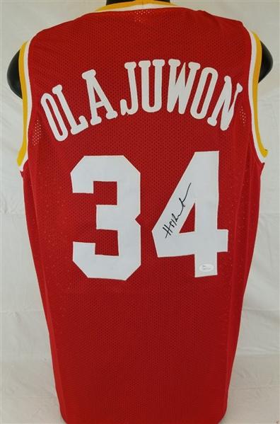61e38c25e Hakeem Olajuwon Signed Houston Rockets Custom Red Jersey (JSA Witness COA)