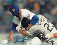 "Nolan Ryan Signed Texas Rangers 8x10 ""Ventura Fight"" Photo (JSA COA & Ryan Hologram)"