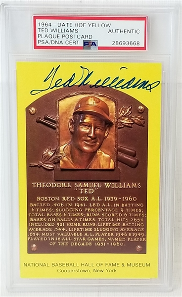 Ted Williams Signed Hall of Fame Plaque Postcard (PSA/DNA)