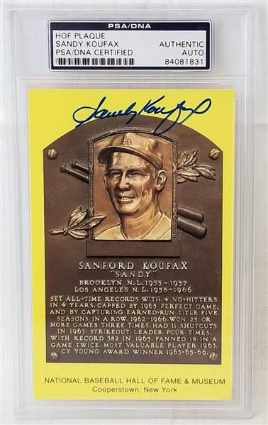 Sandy Koufax Signed Hall of Fame Plaque Postcard (PSA/DNA & JSA COA)
