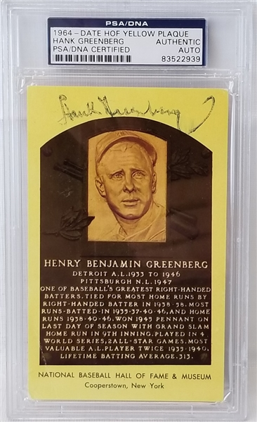 Hank Greenberg Signed Hall of Fame Plaque Postcard (PSA/DNA)