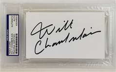 Wilt Chamberlain Signed 3x5 Index Card (PSA/DNA)
