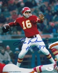 "Len Dawson ""HOF 87"" Signed Kansas City Chiefs 8x10 Photo (JSA COA)"
