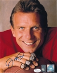 Joe Montana Signed San Francisco 49ers Super Bowl Rings 8x10 Photo (JSA COA)