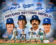 Garvey, Lopes, Russell & Cey Signed Dodgers Record Setting Infield 8x10 Photo (JSA COA)