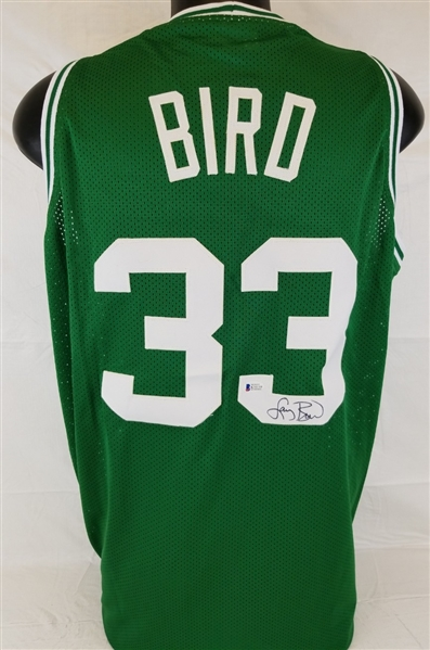 Larry Bird Signed Boston Celtics Custom Jersey (Beckett Witness COA)