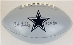 "Bob Lilly ""HOF 80"" Signed Dallas Cowboys Logo Football (JSA Witness COA)"