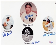 Yogi, Larry, Tim & Dale Berra Signed Berra Family 8x10 Photo (PSA/DNA COA)