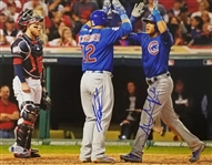 Kyle Schwarber & Addison Russell Signed Cubs 2016 WS 11x14 Photo (Beckett Witness COA)
