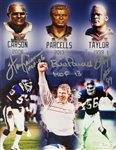 Bill Parcells, Lawrence Taylor & Harry Carson Signed & HOF Inscribed 11x14 Photo (JSA Witness COA)