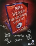 1982-83 76ers NBA Champions Signed 16x20 Photo w/ 7 Signatures Including Dr. J (Fanatics Certified)
